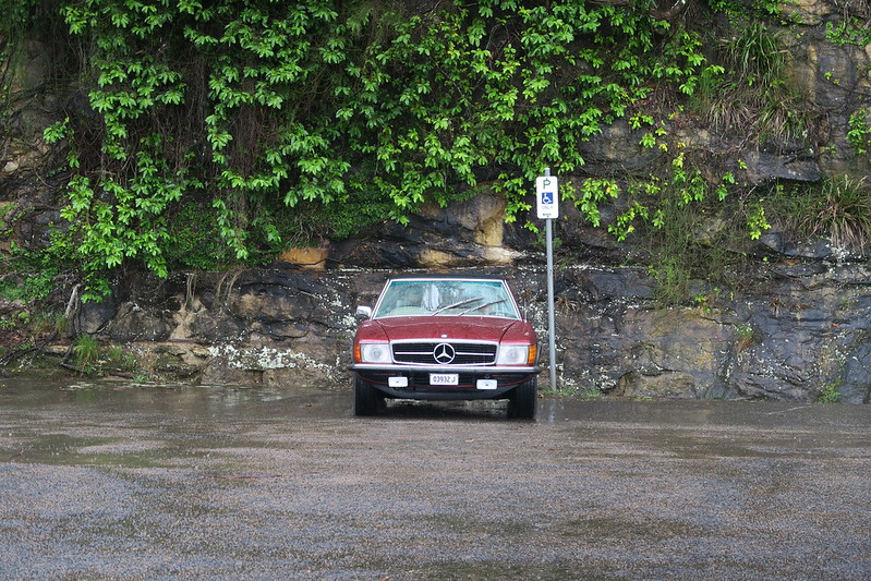 A very wet 450SL on the dam drive
