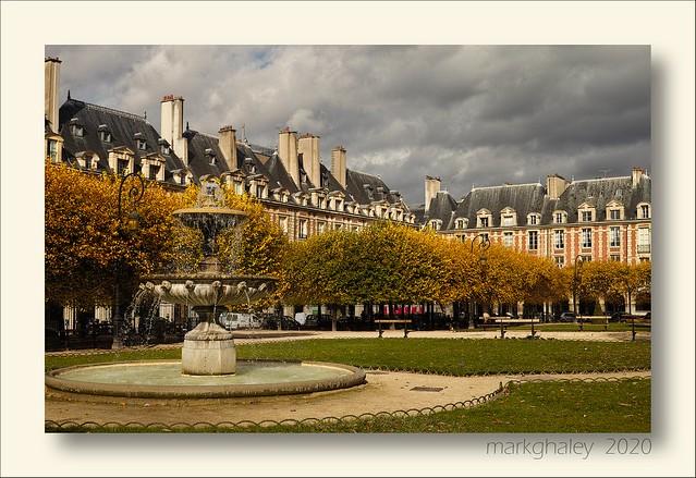 Autumn sun shine Place de Vosges Paris