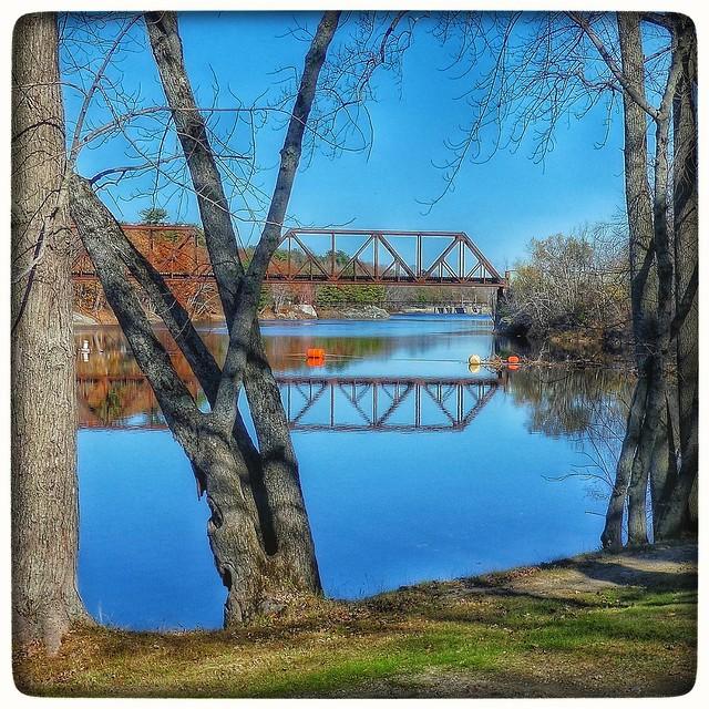 Railroad bridge across the Androscoggin River.