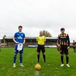 L-R: Fin Allen (Elgin City Captain), Brian Fowlie (Referee) & Dillon Farquhar (Huntly Captain)