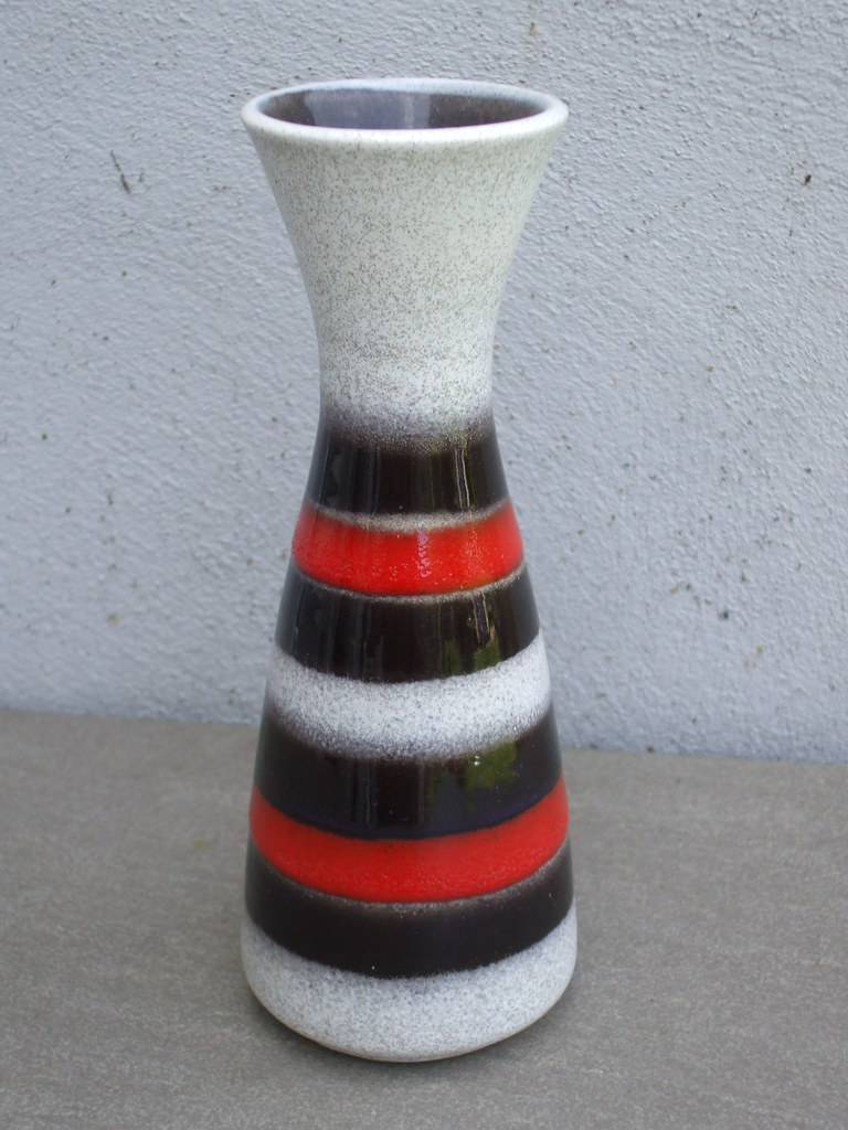 Small Red & Black West German Pottery Vase Mid Century Modern