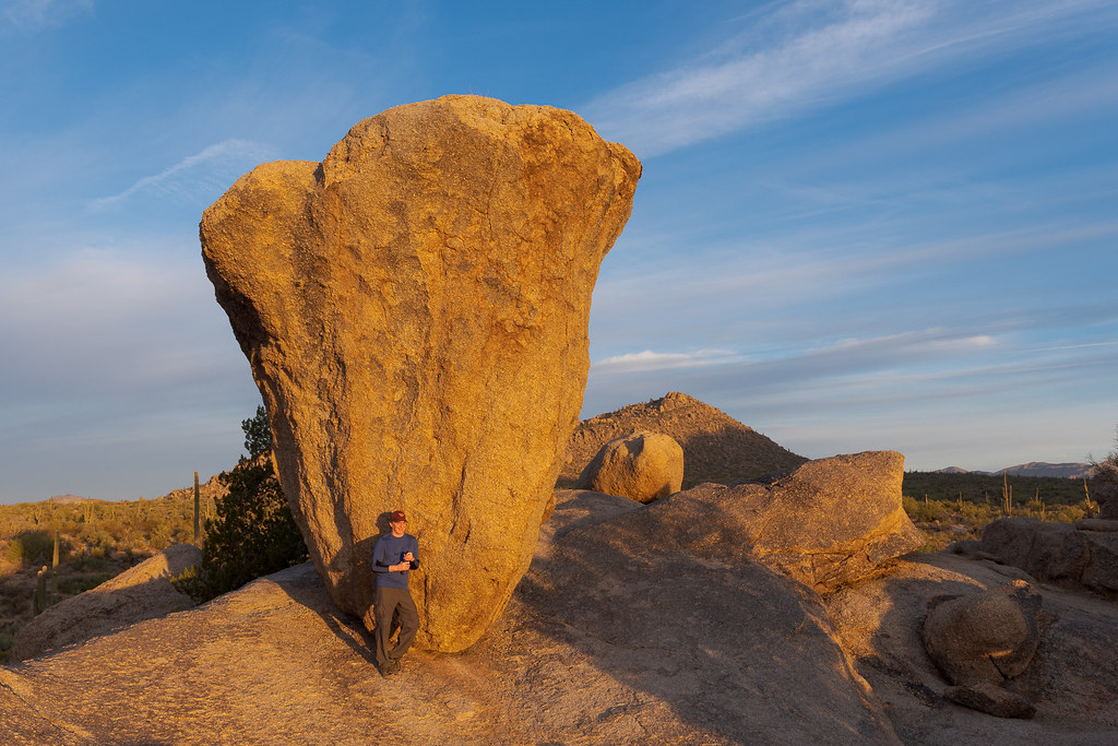 A self-portrait at Balanced Rock at sunrise, taken on the Balanced Rock Trail in McDowell Sonoran Preserve in Scottsdale, Arizona on October 24, 2020. Original: _CAM5685.cr2