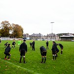 Huntly players go through their warm-up