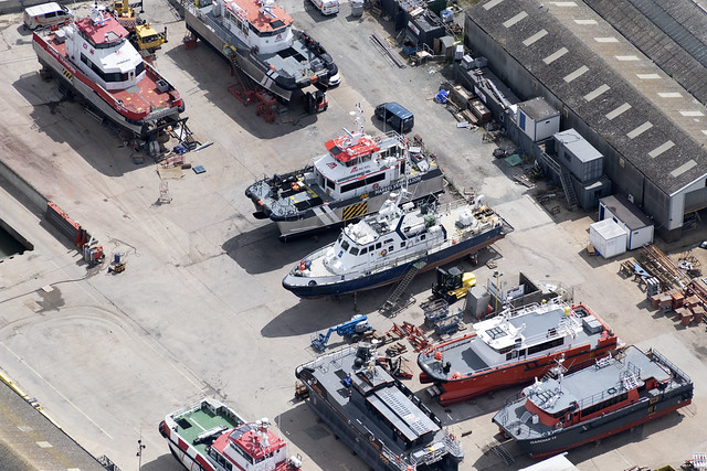Great Yarmouth aerial image - workboats next to the River Yare