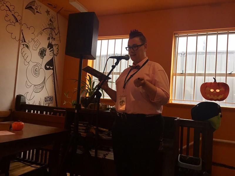 AJ Fitzwater reads upstairs at Rollickin Gelato