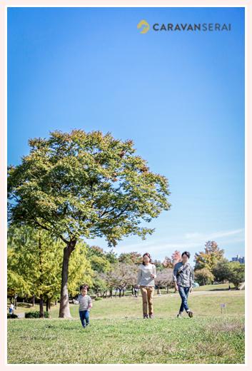 公園で家族写真のロケーション撮影 芝生と背の高い木 青空