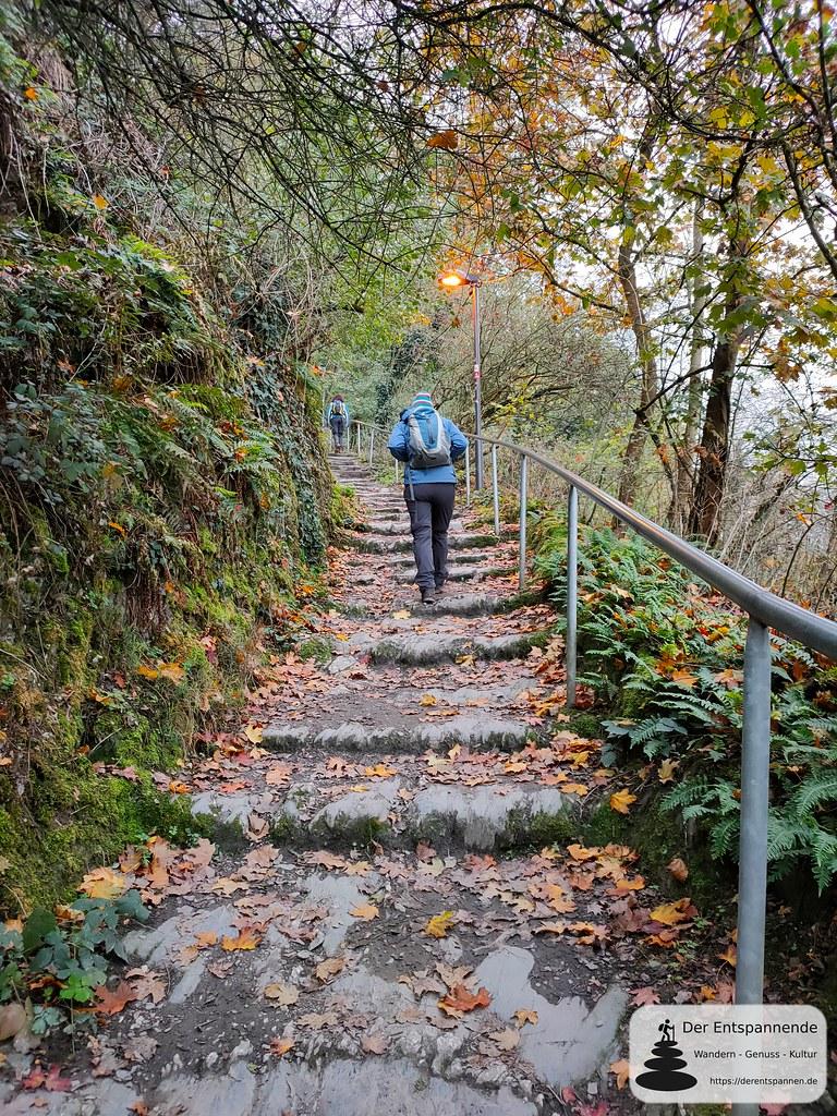 Bacharach: Aufstieg auf der Stahlbergschleife zur Jugendherberge Burg Stahleck