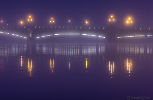 Trinity bridge in the morning fog