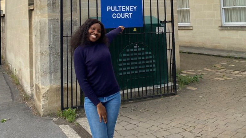 Adebola Adedoyin outside Pulteney Court