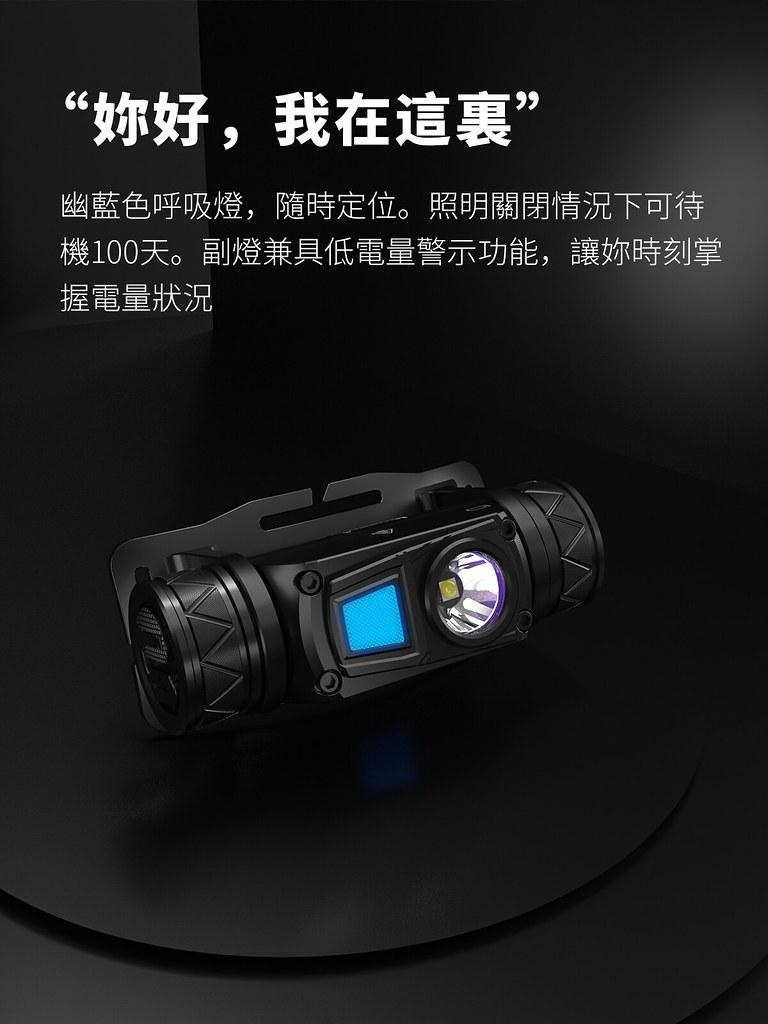 WUBEN H1 1200流明 戶外多光源 頭燈 白光 紅光 高顯色中白光-8