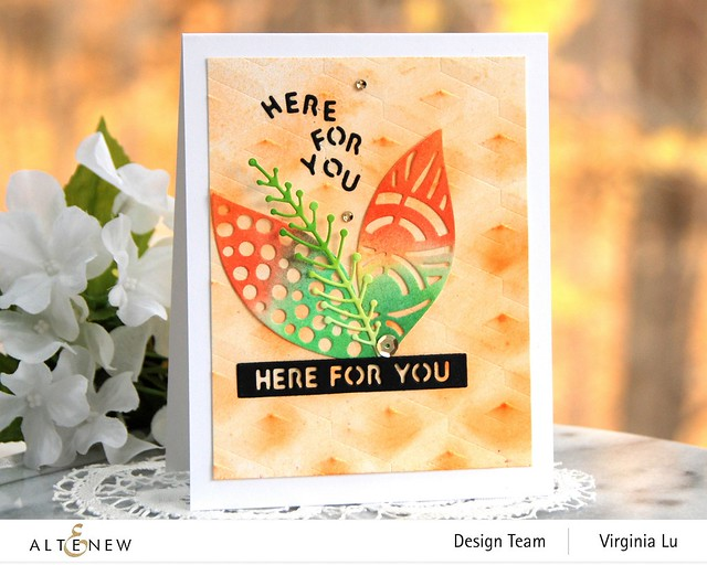 Altenew-GeoStepEmbossing Folder- Leaf Mix Die-Esssential Sentiment Strips Die Set-002