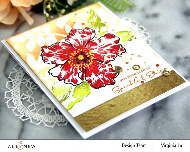 Altenew-Sparkled Stamp Set-Leaf Bed Stencil-002