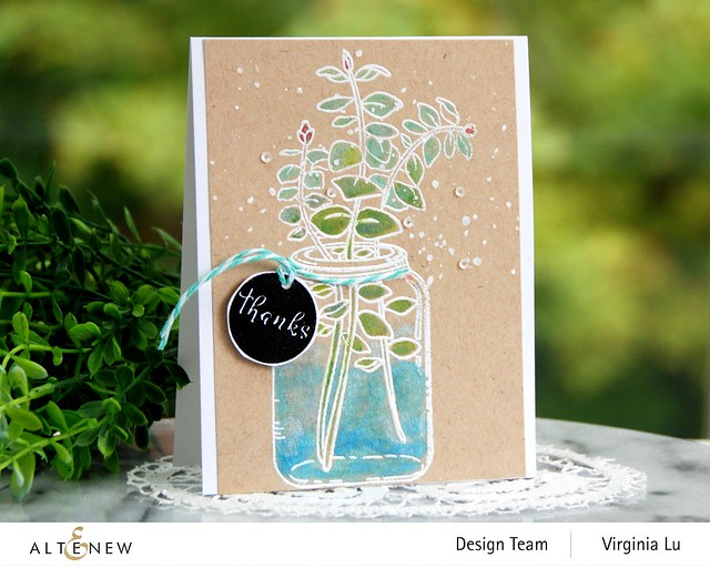 Altenew-Eucalyptus Jar Stamp Set-Woodless Watercolor Pencils-Metallic Watercolor-001