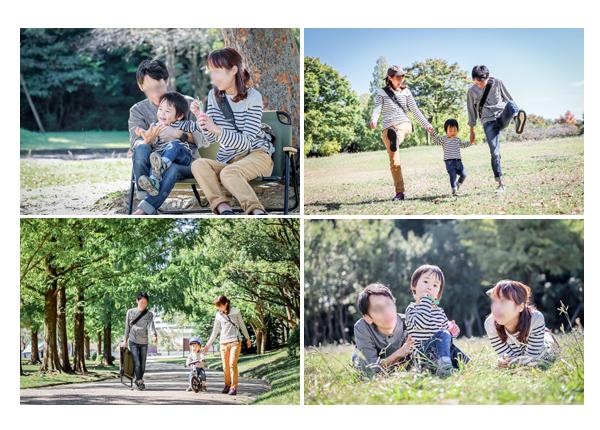 公園でファミリーフォト 親子の写真