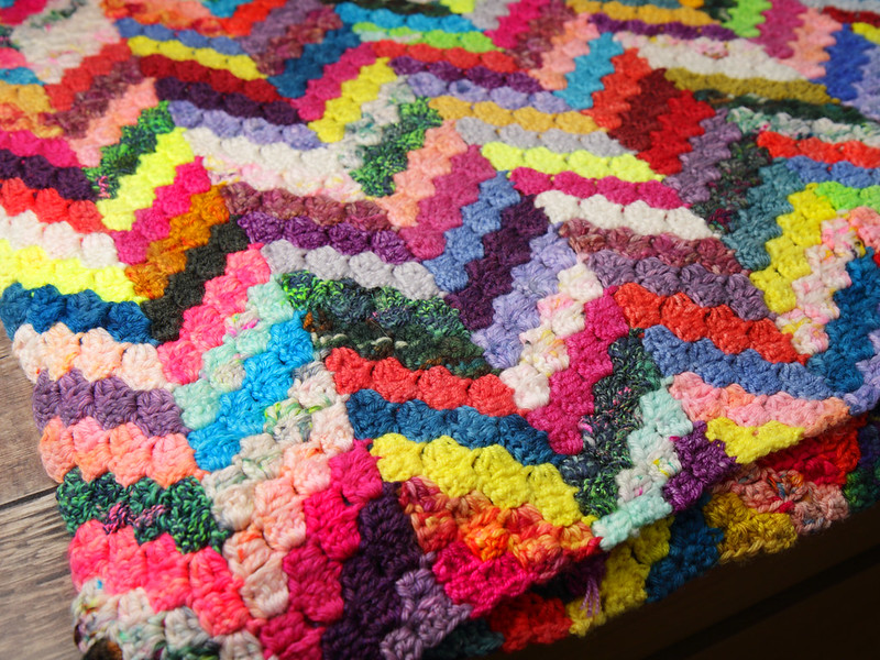Close up of section of blanket flat