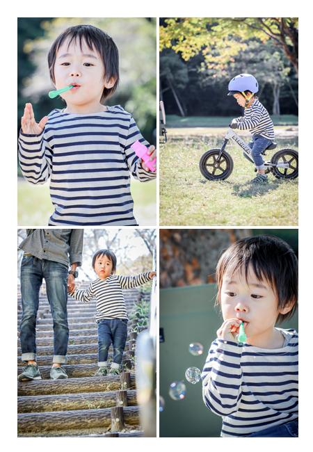 3才の男の子の日常写真 シャボン玉 ストライダー