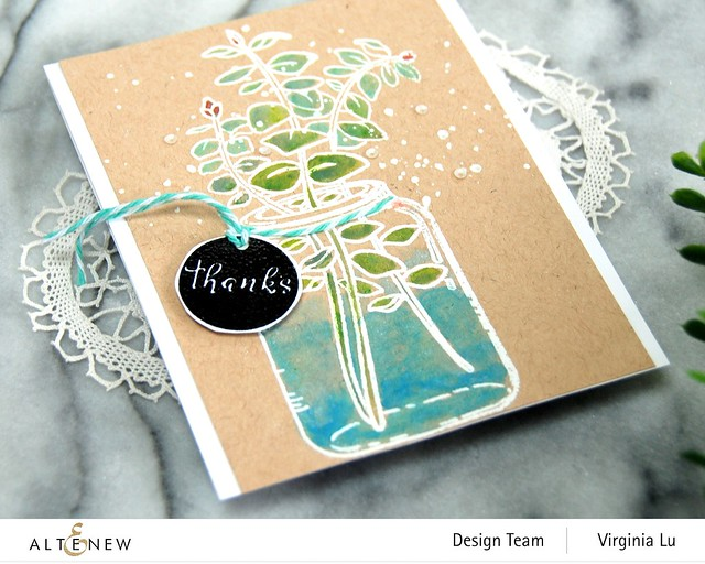 Altenew-Eucalyptus Jar Stamp Set-Woodless Watercolor Pencils-Metallic Watercolor-002