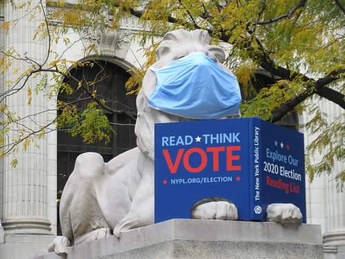 2020 Pre Election Lions wearing masks at New York Public Library 0049