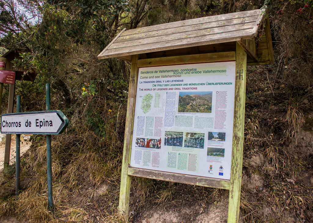 Cartel o señal de los Chorros de Epina en La Gomera