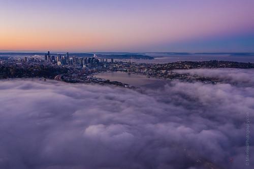seattle fog northwest landscape city mountain sunrise
