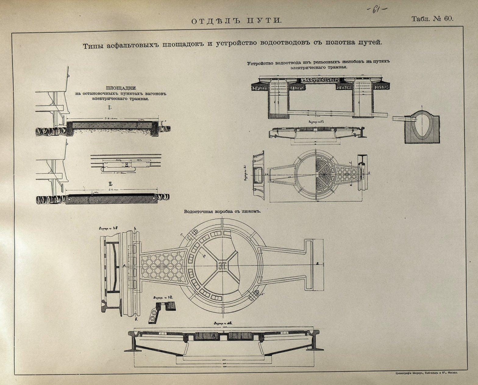 61.  Типы асфальтовых площадок и устройство водоотводов с полотна путей