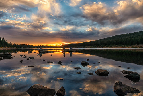 landscape dawn daybreak sunrise brainardlake rooseveltnationalforest colorado reflections clouds landscapes