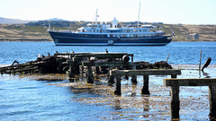 FALKLAND ISLANDS - 80 Superyacht Sherakhan, Stanley harbour
