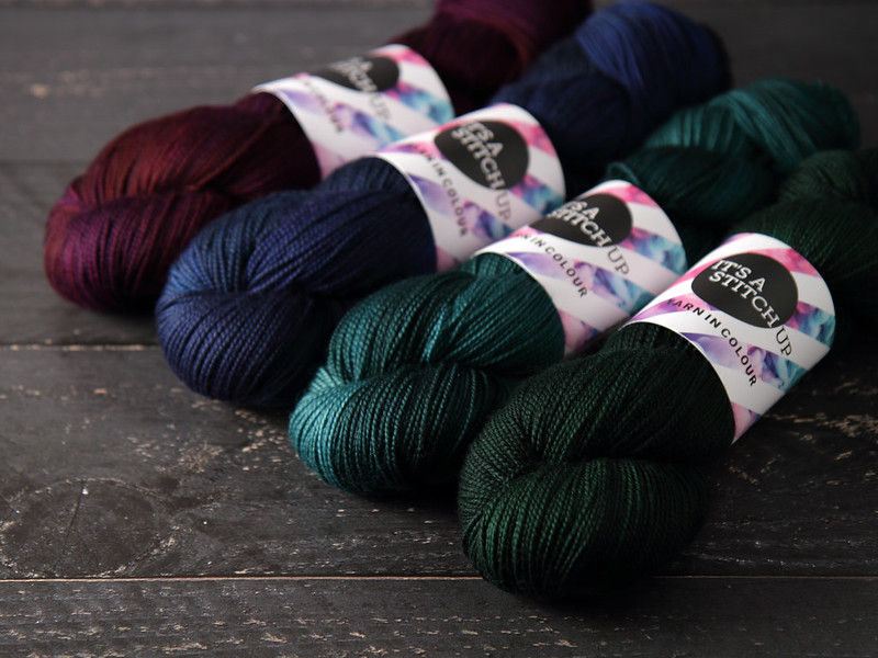 It's a Stitch Up Favourite Sock in 'Dancing in the Dark', 'Depth Charge', 'Spirulina' and 'Monstera'