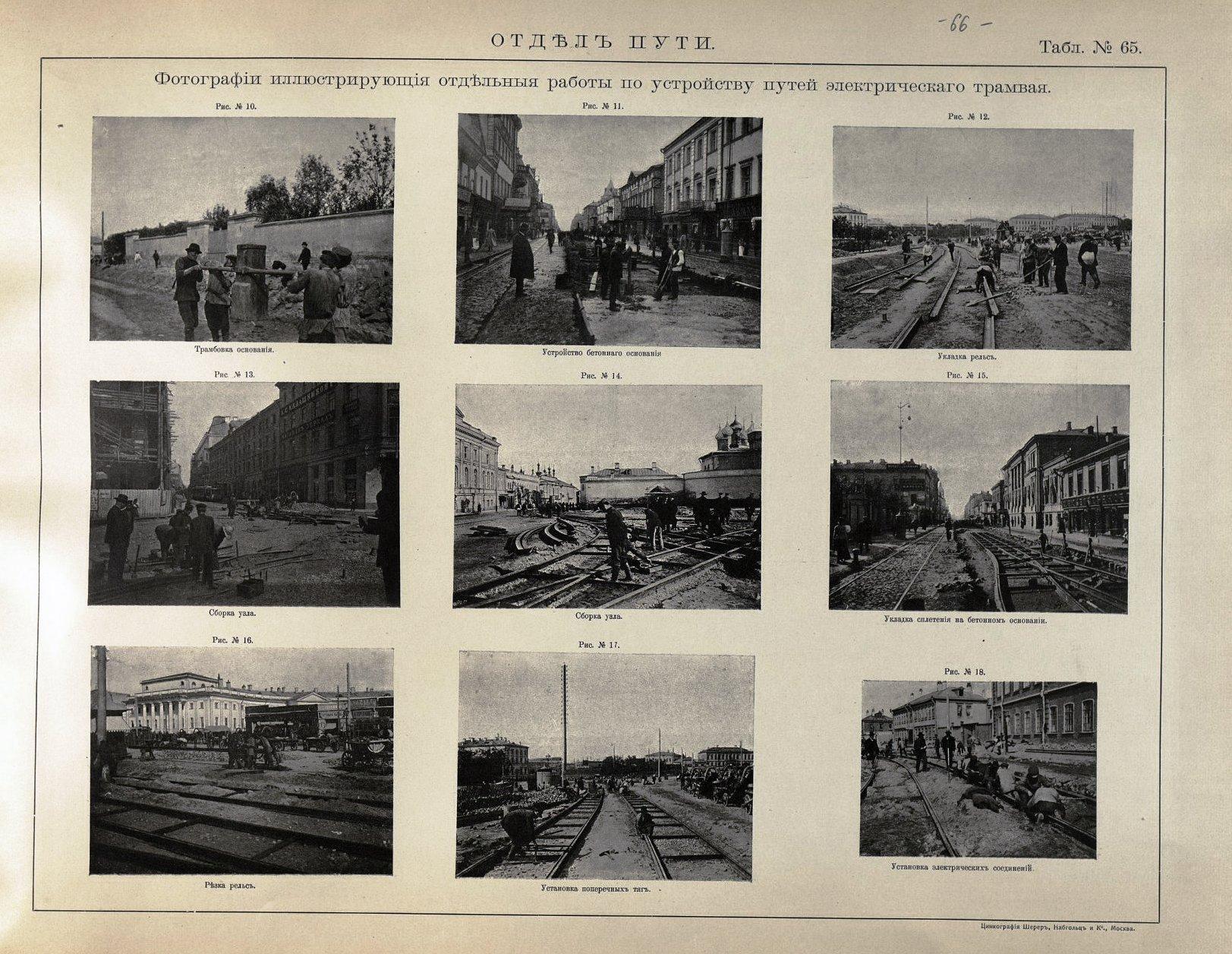 66. Фотографии, иллюстрирующие отдельные работы по устройству путей электрического трамвая