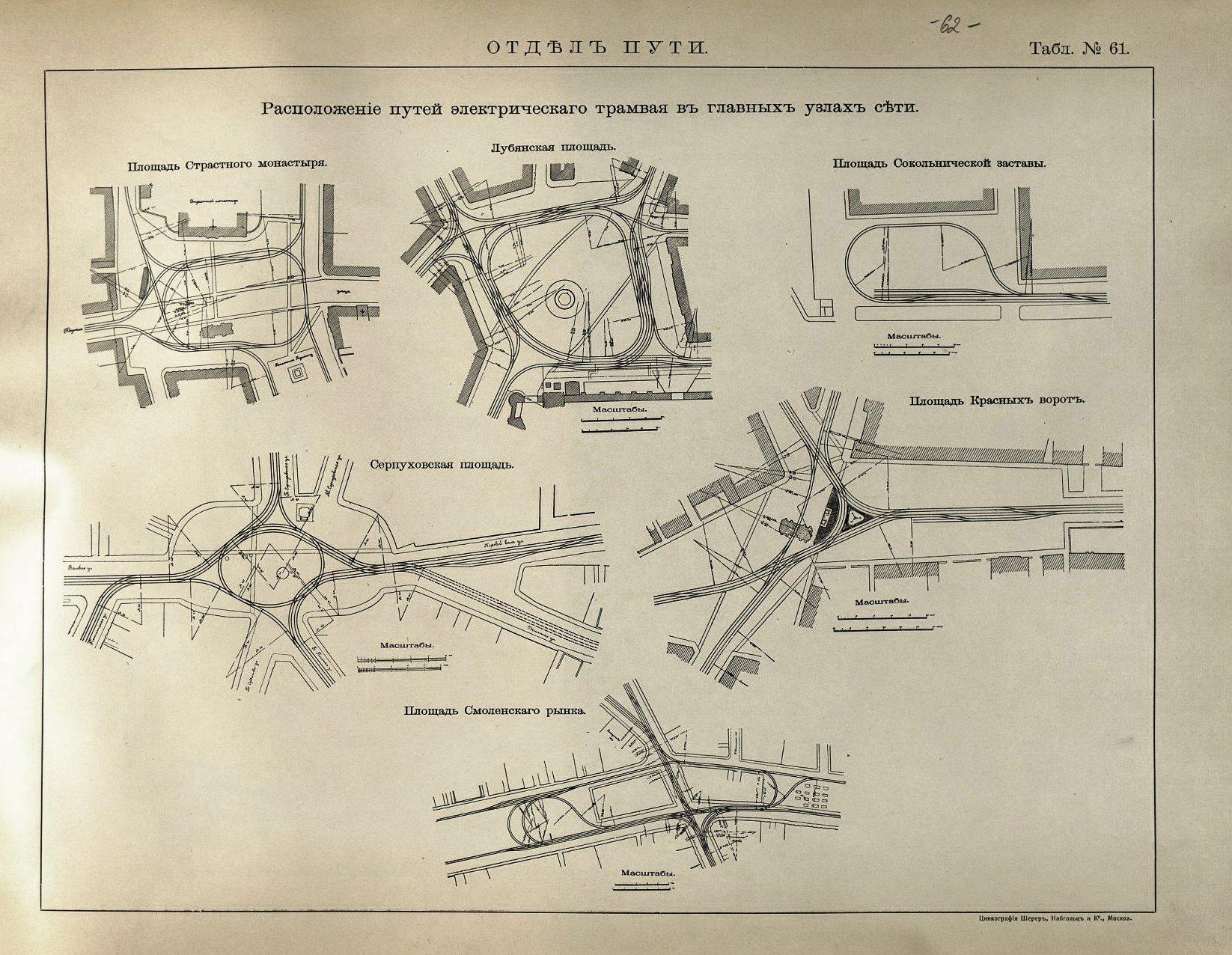 62. Расположение путей электрического трамвая в главных узлах сети