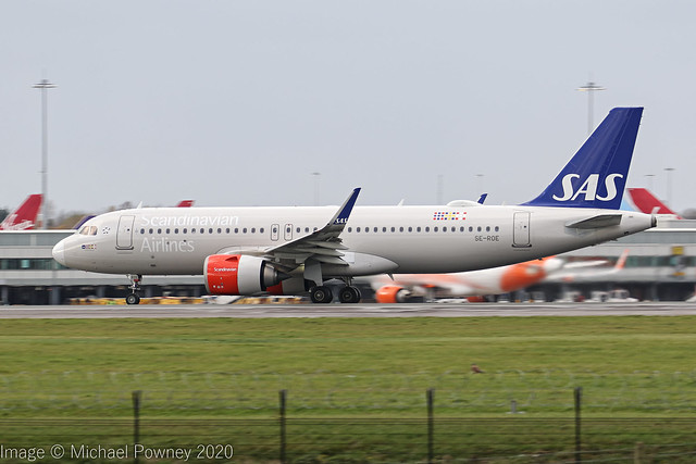 SE-ROE - 2017 build Airbus A320-251N, rolling for departure on Runway 23R at Manchester