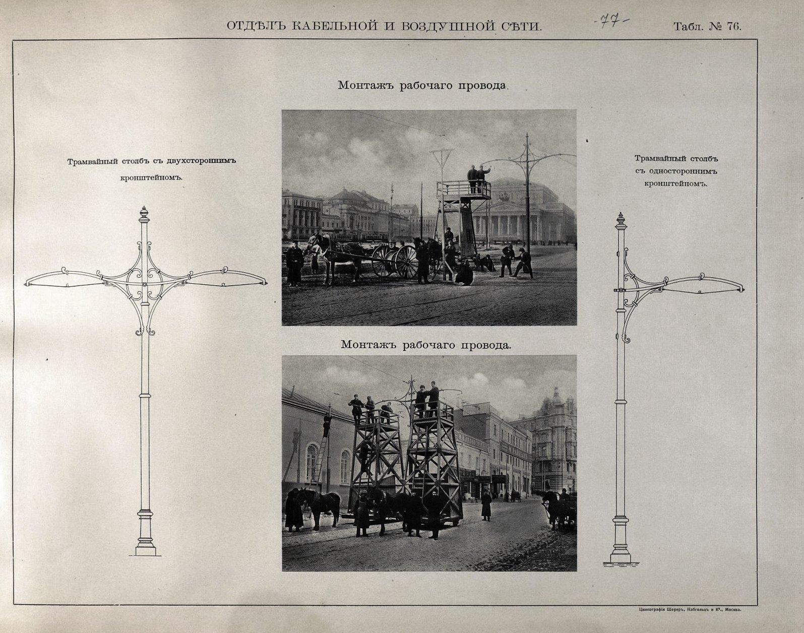 77. Монтаж рабочего провода, трамвайные столбы с кронштейном