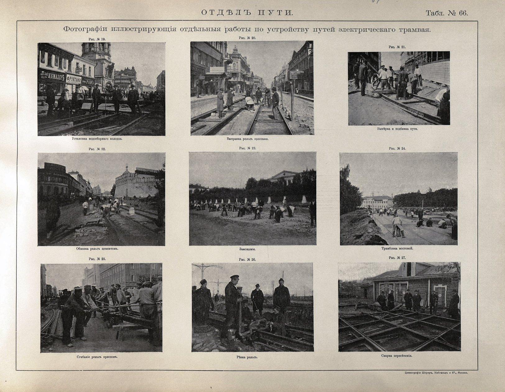 67. Фотографии, иллюстрирующие отдельные работы по устройству путей электрического трамвая