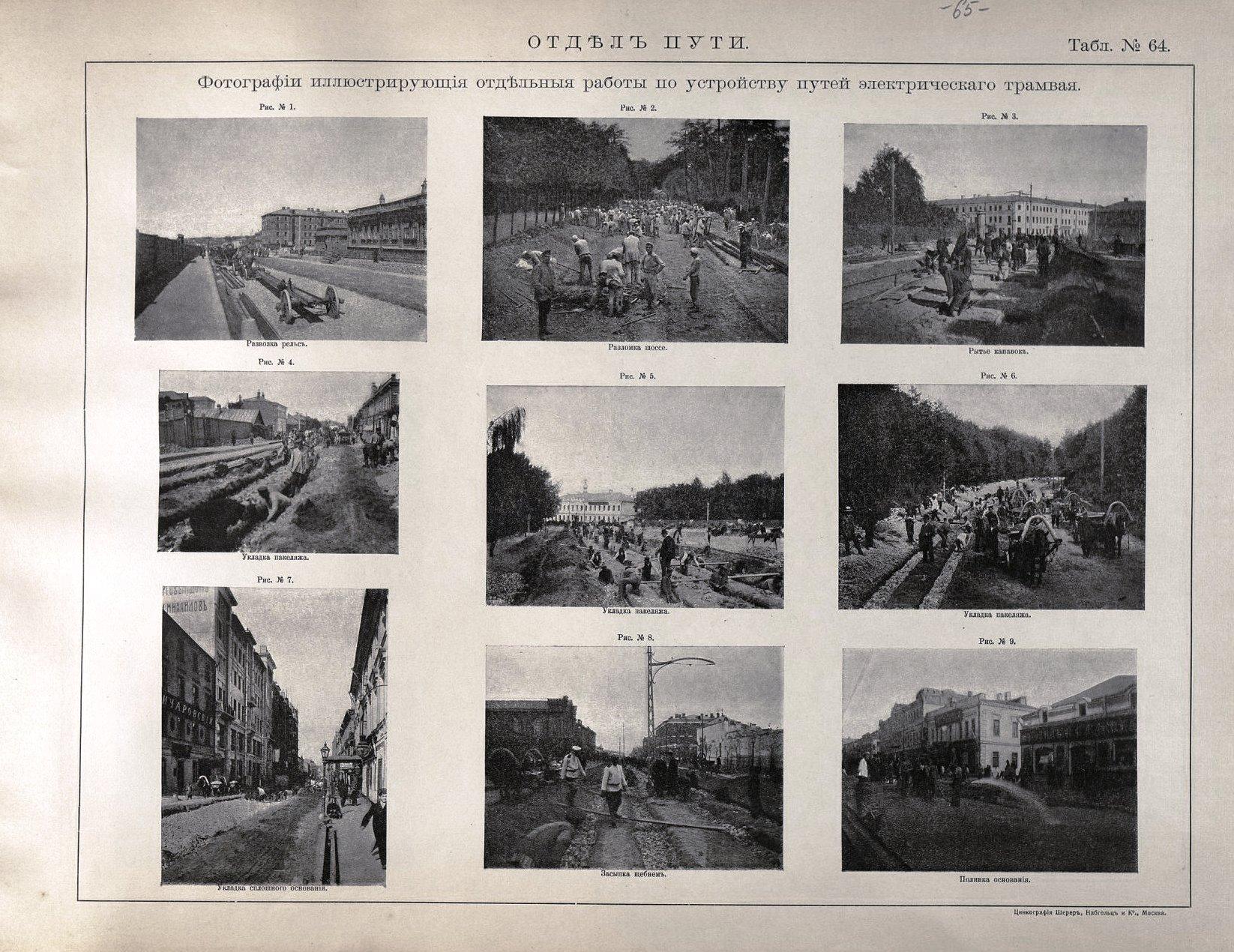 65. Фотографии, иллюстрирующие отдельные работы по устройству путей электрического трамвая