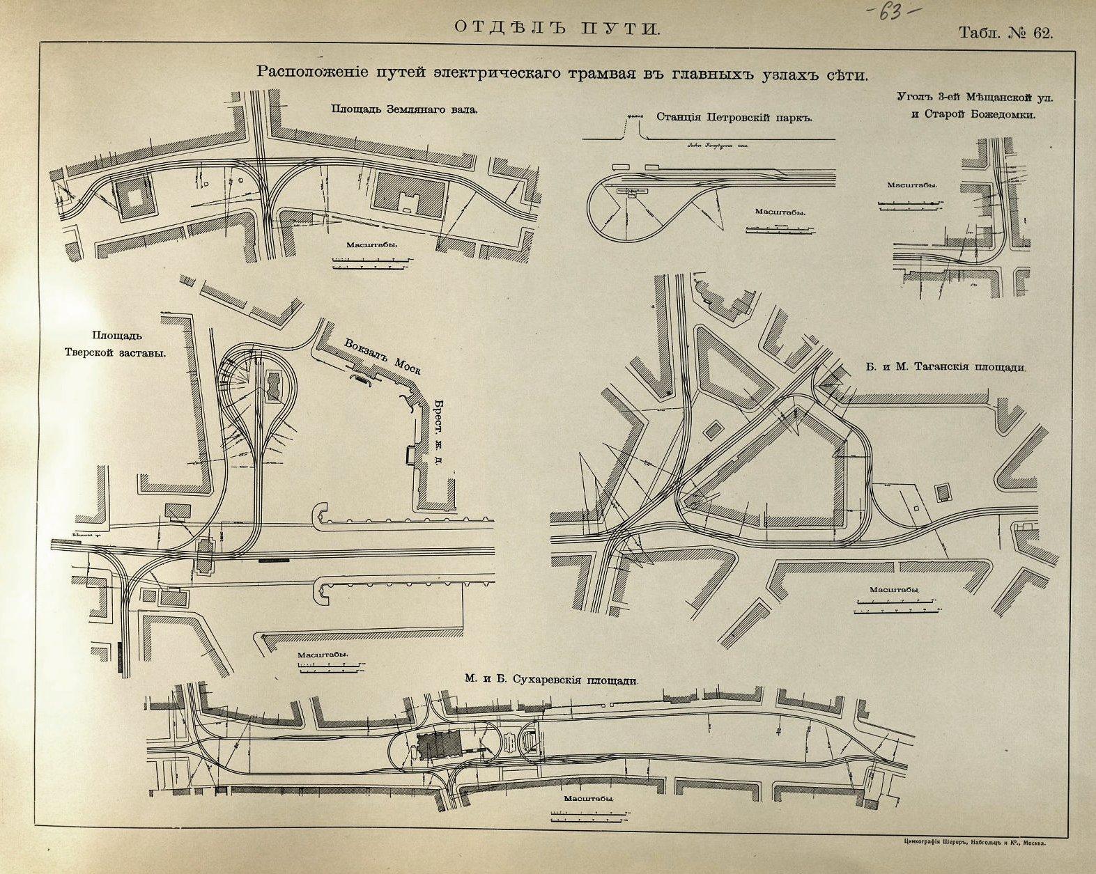 63. Расположение путей электрического трамвая в главных узлах сети