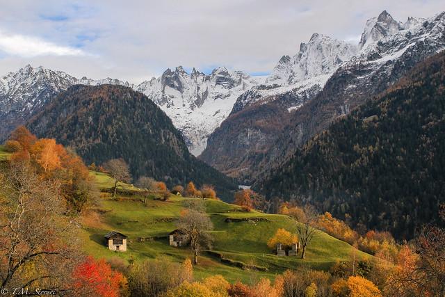 Autumn colors in Soglio, Switzerland