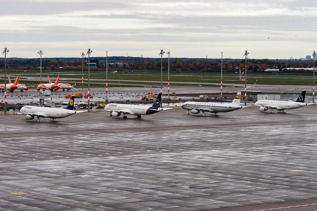 Four different Lufthansa liveries