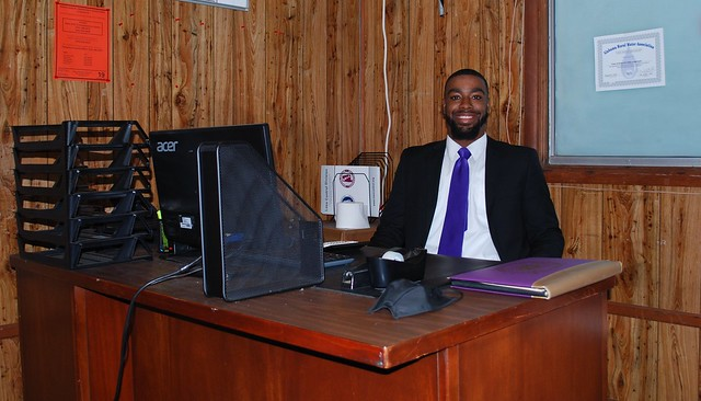 Messiah Williams-Cole at his desk in the mayor's office at Camp Hill Town Hall.