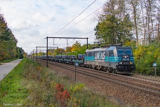La BR186 255 Lineas en charge d'un train siderurgique pour Genk de passage a Langdorp ce 3 novembre 2020.