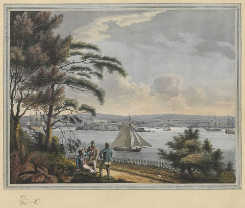 """The BL King's Topographical Collection: """"View of Drake Island, the Citadel of Plymouth, with Cat Water, Mount Batton and the Sound, from the Cottage on Mount Edgcumbe"""""""