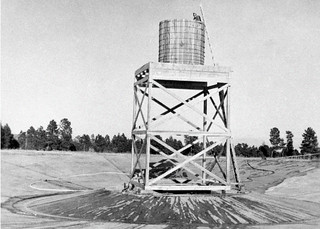 The Concrete Bowl with the wooden tower. The bowl was designed to test recovering plutonium in case of a failed nuclear test.