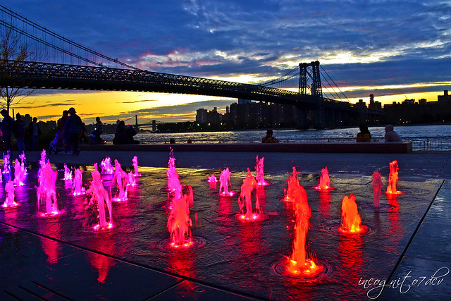 Neon Lights of Domino Park Fountain & Williamsburg Bridge at Twilight Williamsburg Brooklyn New York City NY P00700 DSC_0423