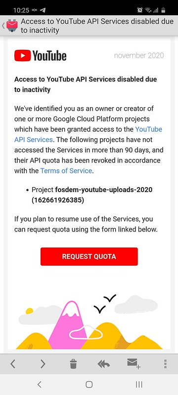 Google lies, claiming that my YouTube API project isn't being used for 90 days and informing me that it will be disabled
