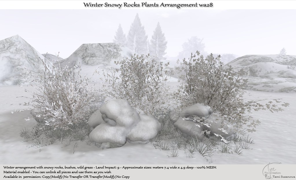 .:Tm:.Creation Winter Snowy Rocks Plants Arrangement wa28