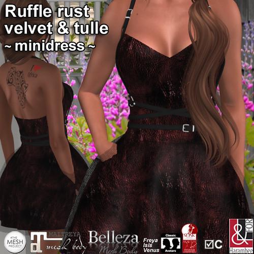 Ruffle rust Velvet & tulle minidress