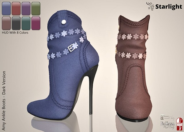 :: SA :: Amy – Ladies Ankle Boots with HUD – Dark Version