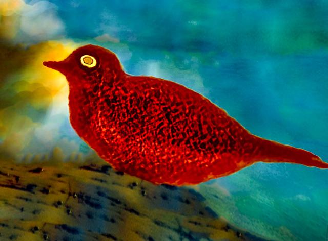 Rare Red Crackle Gackle Bird