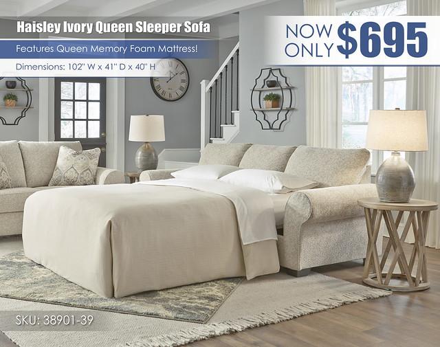 Haisley Ivory Queen Sleeper Sofa_38901-39