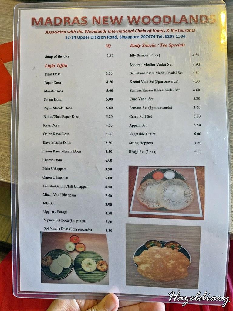 Madras New Woodlands Restaurant -Menu Singapore
