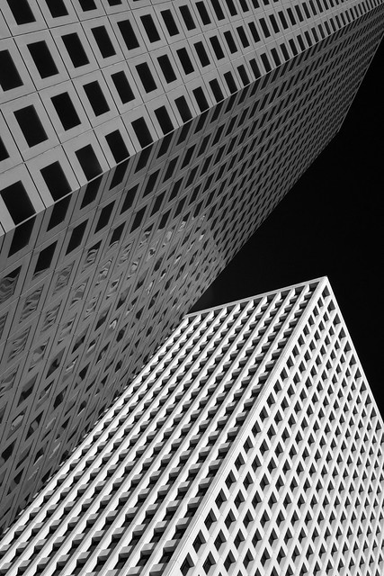 Looking up at Three and Two Allen Center, Houston (infrared)